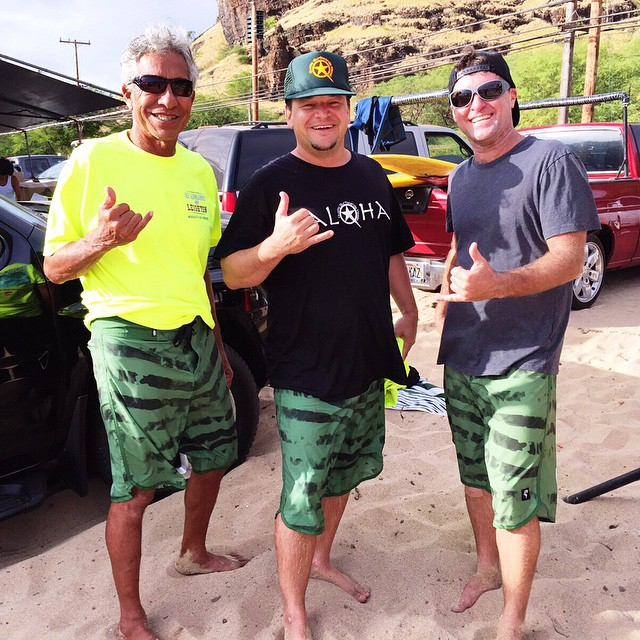 "Canoe surfing team, ""3 Paddlers and Dennis Too,"" were spotted rocking some noRep boardshorts at Makaha beach for Bradah Mel's Canoe and Stand-Up Surfing Championship!"