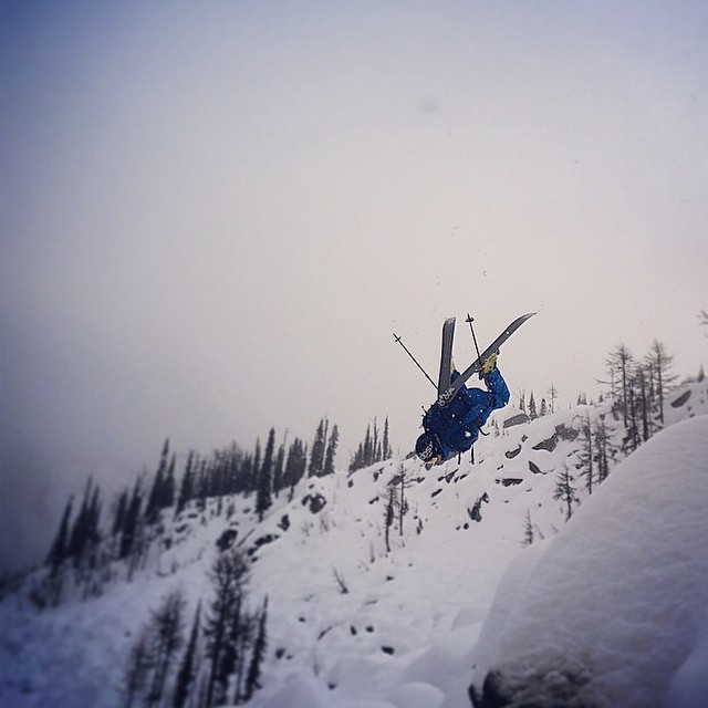 DPS Koala @oloflarsson flipping into a pillow field, while filming for the upcoming fourth film in The Shadow Campaign. The whole crew is in British Columbia and flew into @baldfacelodge today. Photo: @jahrig. #dpsskis #dpscinematic #skiing #powder...