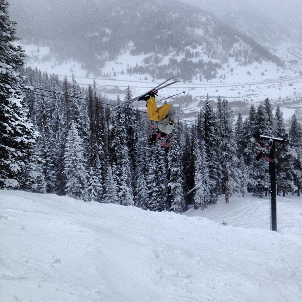 New snow means its time to get the first #backflip of the season out of the way! @coppermtn #sundayfunday