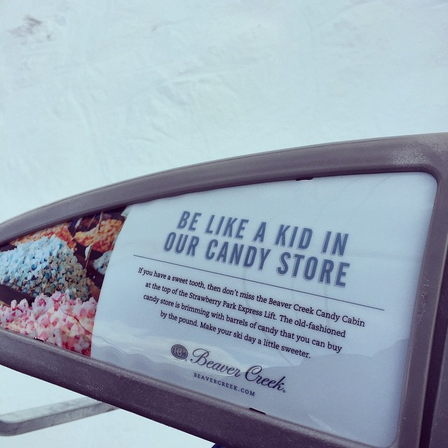 Gotta love that Beaver Creek Marketing!  Check out our new candy cabin throwback candy store on the hill at the top of Strawberry Park!  #candyland #beavercreekprobs