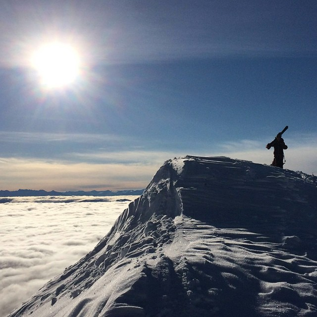 This week, a sea of clouds. Bridger Ridge, #Montana.  #MountainCrushMonday #bbowlslidin #skiing #mountains