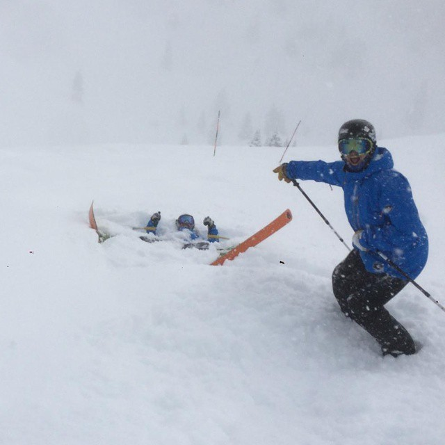 #powder day at @vailmtn #Colorado today! Can't see @goatski without those #orangehot bases.