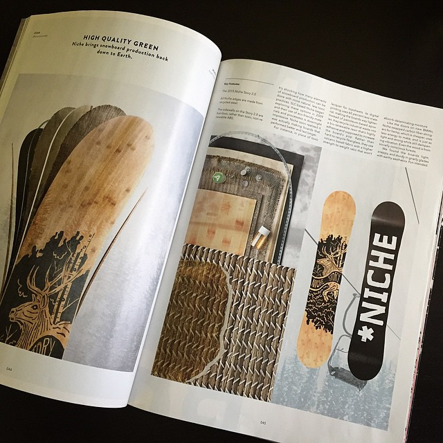 Who makes eco-friendly snowboards and has a feature in the new issue of @twsnow?! We dooo! Page 44 - peep it. #nichesnowboards