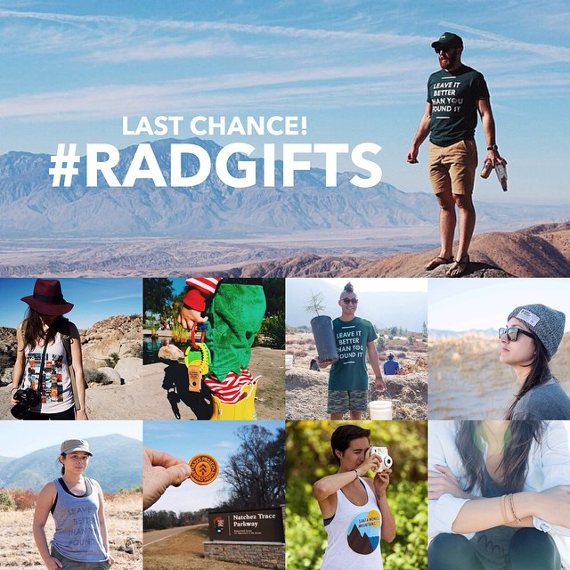 Do you still need to order #radgifts for your friends and family? Tomorrow 12/16 is our deadline for holiday shipping. Order now to ensure you receive all of your gifts before Christmas! // #radgifts for #radparks