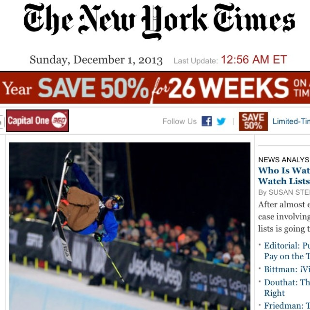 """In the half pipe with the Olympic Undude"" -  @mrdavidwise featured now on the cover of the nytimes.com. As written ""...Pairs of 4Frnt skis stood in various corners of the house, awaiting deployment."""