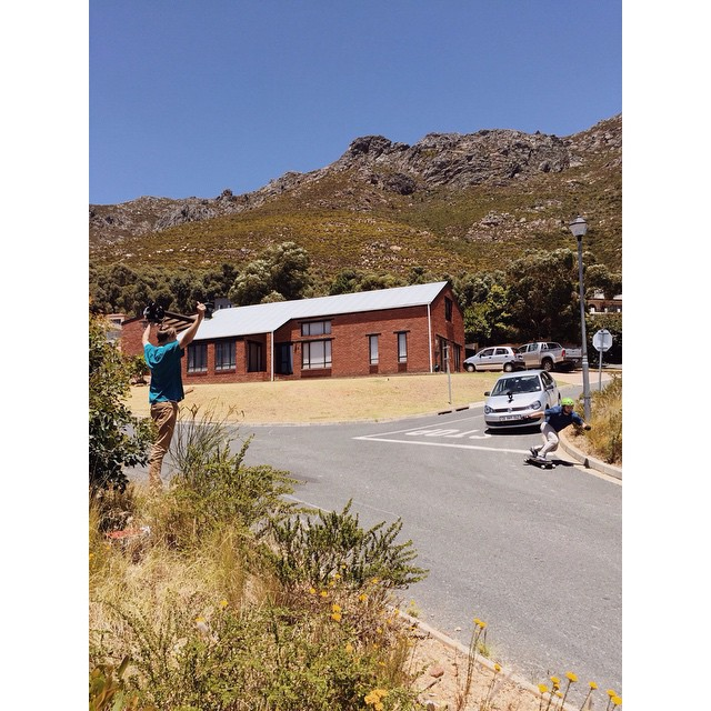 @chubbaluv railing a corner in South Africa while @brandontissen films the action.  @henrychomper spots the corner for safety!