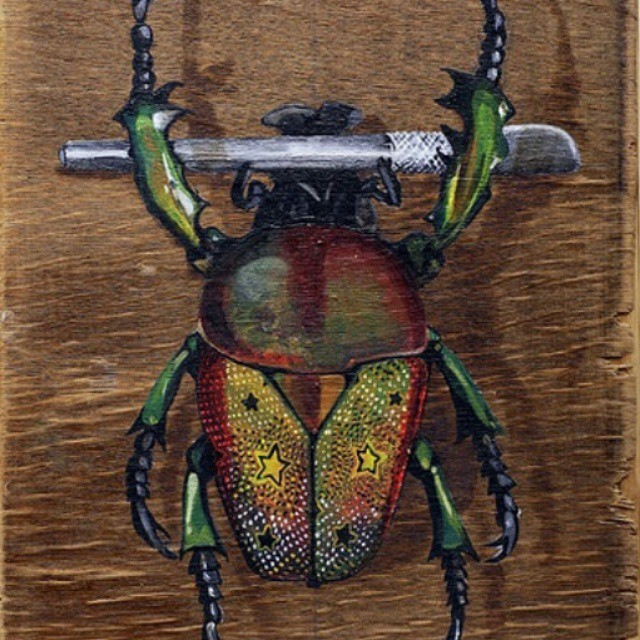 """Craft Judy Mwizi (Craft Knife Thief), 2013"" acrylic and bitumen on reclaimed wood 31""x23"" Thanks @louismasai paddle8.com/auction/wavesfordevelopment"