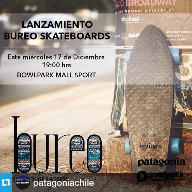 Acompáñanos al lanzamiento de Bureo en Chile! Este miércoles 17 de Diciembre. A las 19:00 hrs. en @bowlpark #MallSport. Inscríbete en Patagonia_Chile@patagonia.com #netstodecks