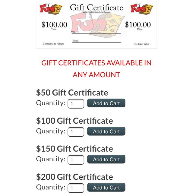 Don't know what to get that #special #someone ? It's not too late. We have #gift #certificates available in any #dollar amount. Just in time for any #holiday #celebration #thankyouskateboarding #skateshop #skateboarding #longboarding #concretewave...