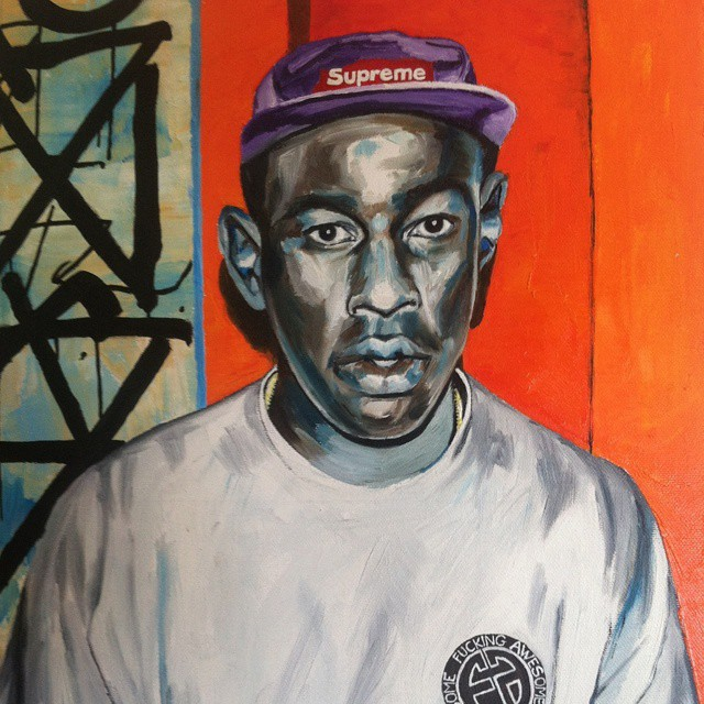 """Tyler Reyna New Image, 2014"" Painted from a Polaroid portrait of Tyler the Creator standing in front of a RETNA artwork during an opening at new image art gallery Los Angles, California in 2012. Thanks Angelina Sauer!..."