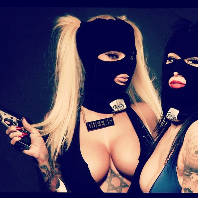 @estherhanuka and @xashleyallenx rockin the OG face masks. New face masks launching this month! #FrostyHeadwear