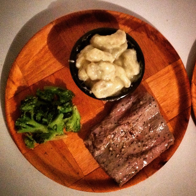Steak, homemade spinach gnocchi in a white cheese sauce and broccoli. A touch of home in Nica to change things up for Chuck & Lynne!