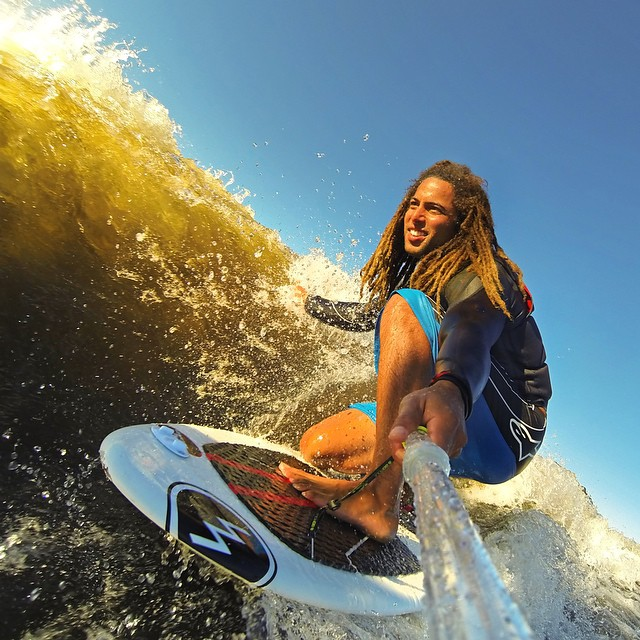 @joshpalma using GoPole Evo fully extended to snap this selfie during an afternoon wakesurf session. Shop GoPole Evo now at GoPole.com/Evo #gopro #gopole #gopoleevo #wakesurf