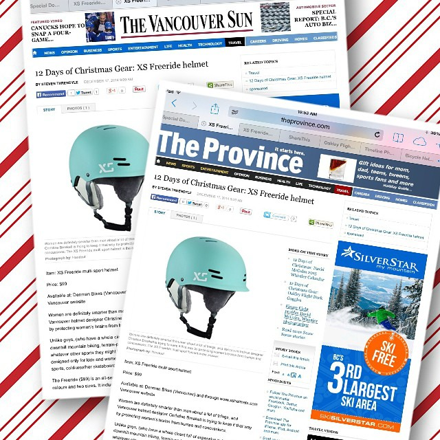 Thanks @thevancouversun and @theprovince for including us in the 12 Days Of Christmas Gear Guide! #xshelmets #skatebikeboardski #forgirlswhoshred #Vancouver