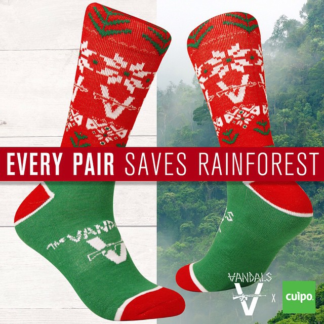 Order your #limitededition @vandalsofficial holiday socks by 12/19 + priority shipping to get them by Xmas! #CuipoArtistSocks #SaveRainforest #Vandals #ChristmasSocks
