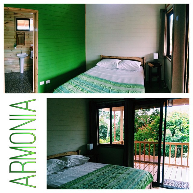 "Introducing Room Armonia (the green room), Spanish for ""Harmony"". It's got a pretty killer porch & view!"