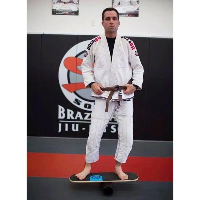 Getting a little Brazilian jiu-jitsu balance training in, thanks for sending in the photo John! #jiujitsu #balance #training