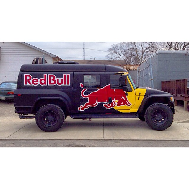We had a visitor at the shop yesterday. Thanks for the #RedBull. Some cool stuff in the works. @redbulldixie