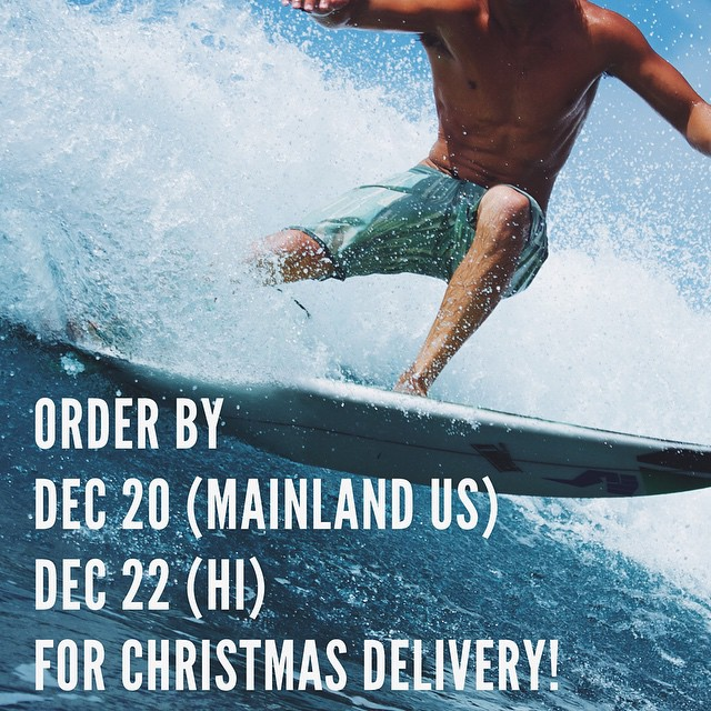 Yup that's right! If you order any of our products at norepboardshorts.com by these dates, you will not only get free shipping, but your order will be delivered by Dec. 24!