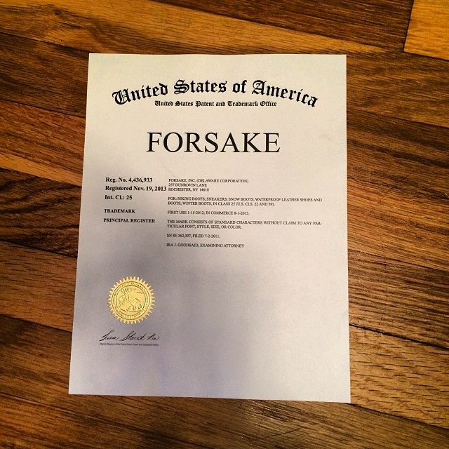 Hey we got our trademark! The certificate also looks strangely similar to my 5th grade Outstanding Achievement award...
