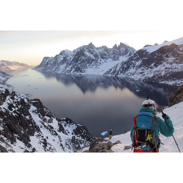 @piphunt and @mck_p taking it all in during our first descent in Southern Greenland.  Photo: @nat_segal  #shiftingice #greenland #fjords #icebergs #sunset #skimo #skiing #viewofalifetime #getoutstayout #mountains #goatworthy #throwback #tbt #iamprosnow
