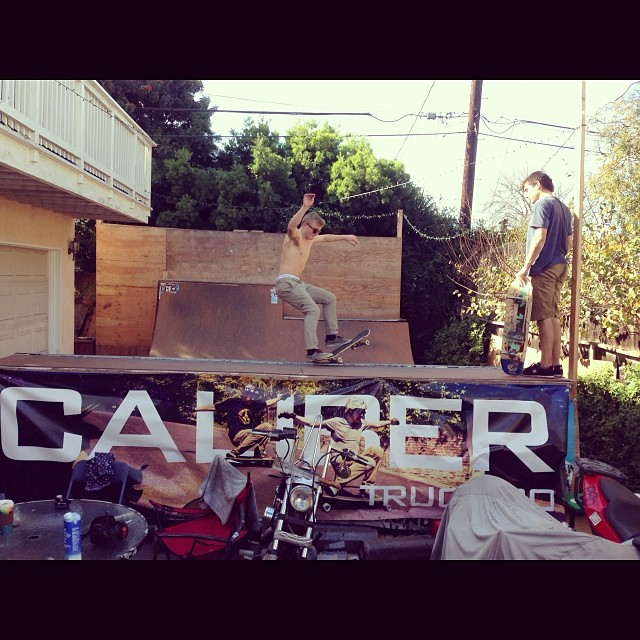 @liam_lbdr putting his feet where his face is during a rad session with the @skatehousemedia homies during the holidays... PC:@bigdave_hsf #calibertrucks