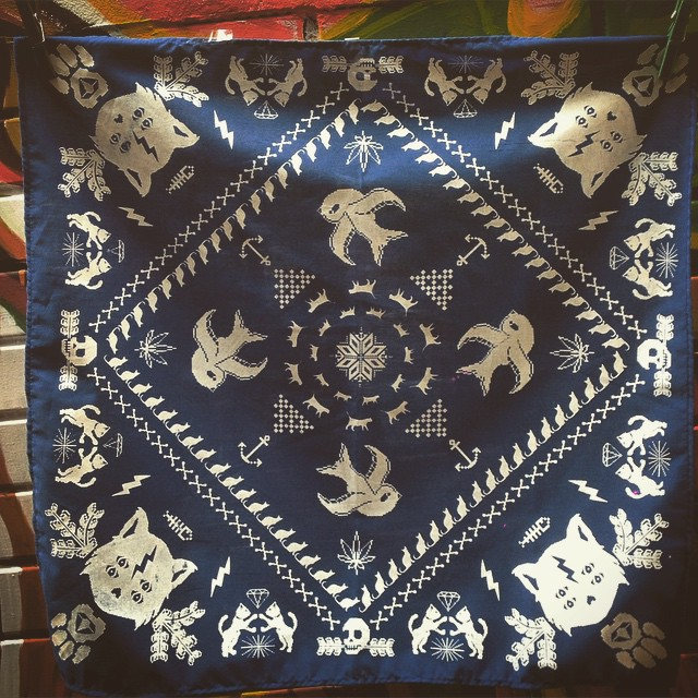 #bandana #navy #urbanroach #cat #pixelar #serigrafia #screenprint