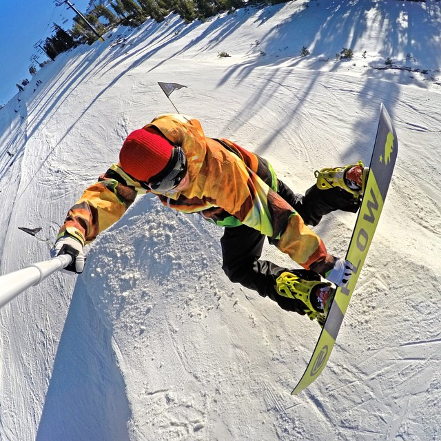 @timhumphreys poking out a stylish method at @mammothmountain. GoPro HERO4 | GoPole Reach #gopro #gopole #gopolereach #snowboarding @mammothunbound