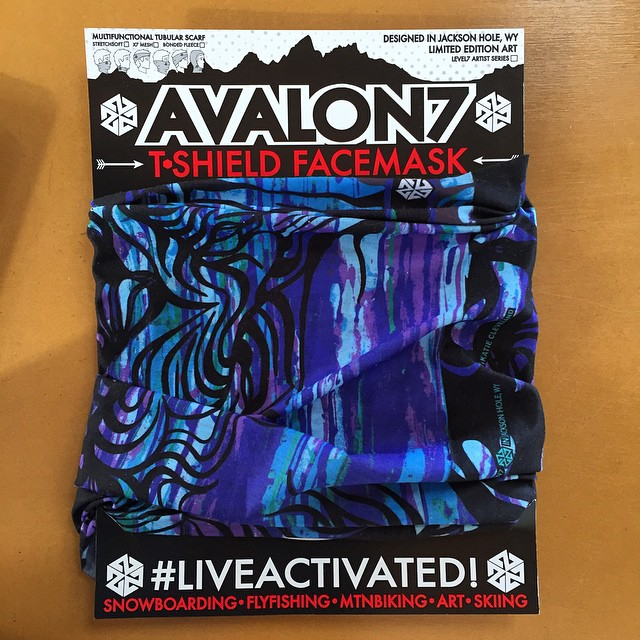 What do you guys think of the new hanging cards I designed for our retail displays? I'm stoked how they came out. I'm also super stoked on the new DrippyTrees Tshield design by @katieclevelandart!  They are beautiful! #avalon7 #snowboarding #facemasks...
