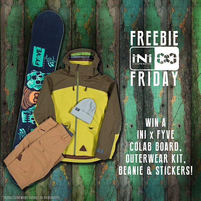 Back with a #FreebieFriday for a chance to win a full kit, plus @5fyve X #iNi board. Tag 3 others and let us know what your New Years resolution will be. Contest running through Monday. 20k #PeakJacket #UtilityPant #FoeBeanie #Snowboard #StickerPack -...