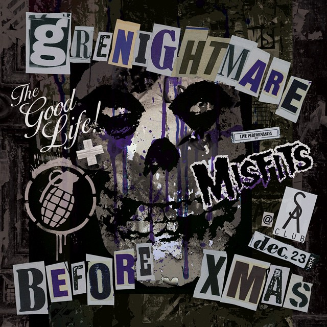 This Tuesday Dec 23rd come scream with @grenadegloves, @wearethegoodlife and special guests THE MISFITS!  It's a  Grenightmare Before Xmas @sohoartsclub. Forget holiday cheer come for beer and fear!