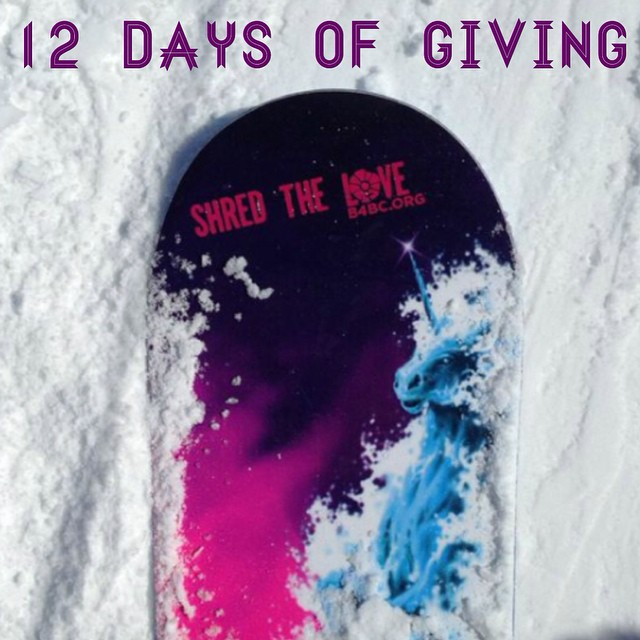 12 DAYS OF GIVING // Shred The Love  DAY 9: We're here to shred. How do we show it?  By rocking our custom Shred The Love die-cut stickers on pretty much everything we own!  Grab one at www.b4bc.org/shop #12daysofgiving #shredthelove