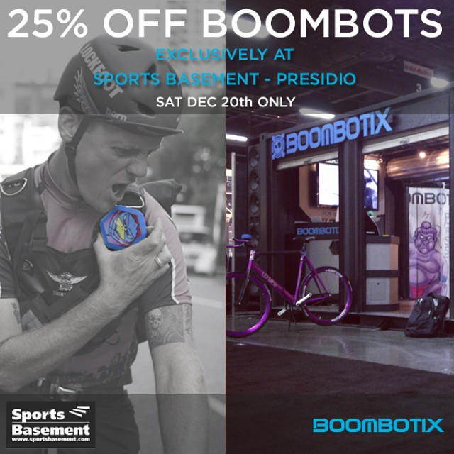 Still doing some last minute Christmas shopping? Meet up with us today at @sportsbasement Presidio from 12-4  for 25% off a Boombot REX plus FREE customization! With the purchase, you can also take 20% off Sports Basement's entire store. Don't miss out!