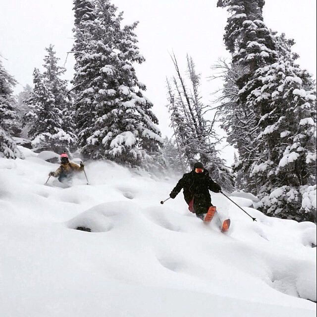 """A 22 inch base never skied so sweet!"" -TanSnowMan referring to opening day conditions today at his home mountain of Pebble Creek, Idaho.  Here, Bo Ferro leads the way through a debris field in Pebble Creek's ""Rattlesnake"" while TanSnowMan trails close..."
