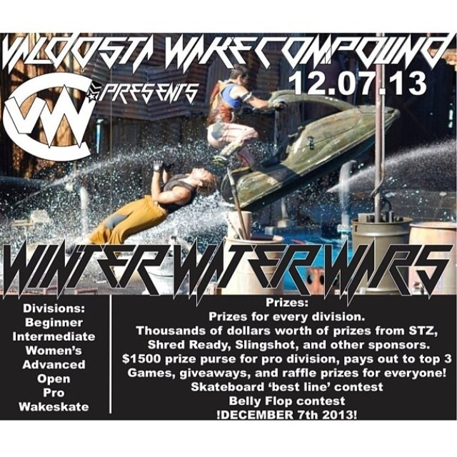Don't miss the Winter Water Wars at  @valdostawakecompound Saturday! Come check out some awesome riding check out the STZ tent and have fun! #stzlife #happyshredding  #ziplinecontest #wakeboard #cablepark