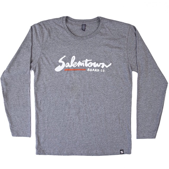 Check out the new STBCo. heather gray long sleeve Script T!