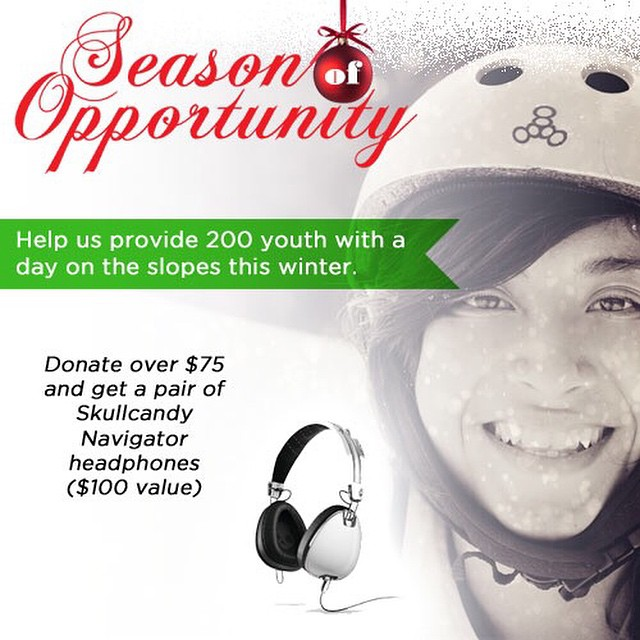 You give to us and we give to you! Make a holiday / year end gift to STOKED. Any donation over $75 and get a pair of Skullcandy headphones. Stoked.org/donate