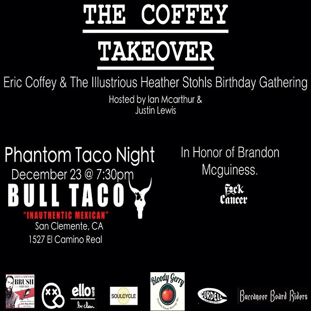 BBR will be there!  Hope to see you too. #thecoffeytakeover #bulltaco #bbr #buccaneerboardriders #cordellsurfboards