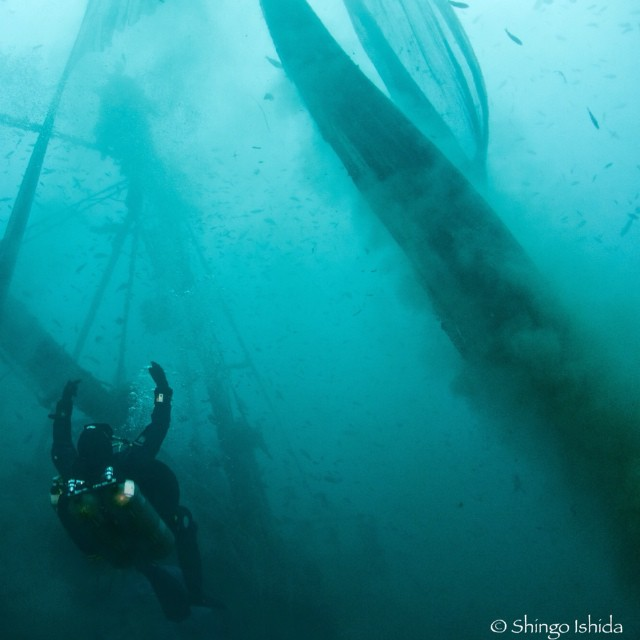 Awesome shot by Shingo Ishida from our trip with @GhostFishing last Saturday. The net in the photo is being lifted off a shipwreck and floated to the surface for recovery. #GhostFishing #NetstoDecks