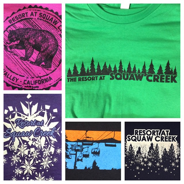 Thanks to @squawcreek for working with us! Just designed a handful of custom shirts for their resort. #tshirts #tahoe