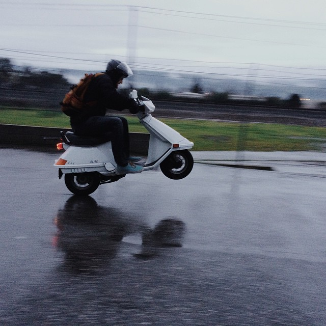 How's this for a #WheelieWednesday? Just @Bryan_T_Mason tack'n the Honda Elite out in front of the office. |#80ccsofradness #HondaElite #TisTheSeasonForShredding