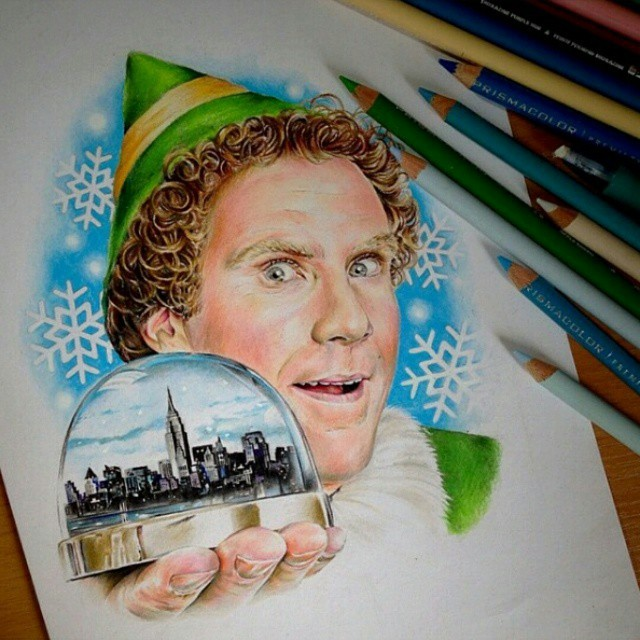 One of the best Christmas movies hands down | Photo credit: @manami710 | #elf #pencil #drawing #willferrell #movieclassic