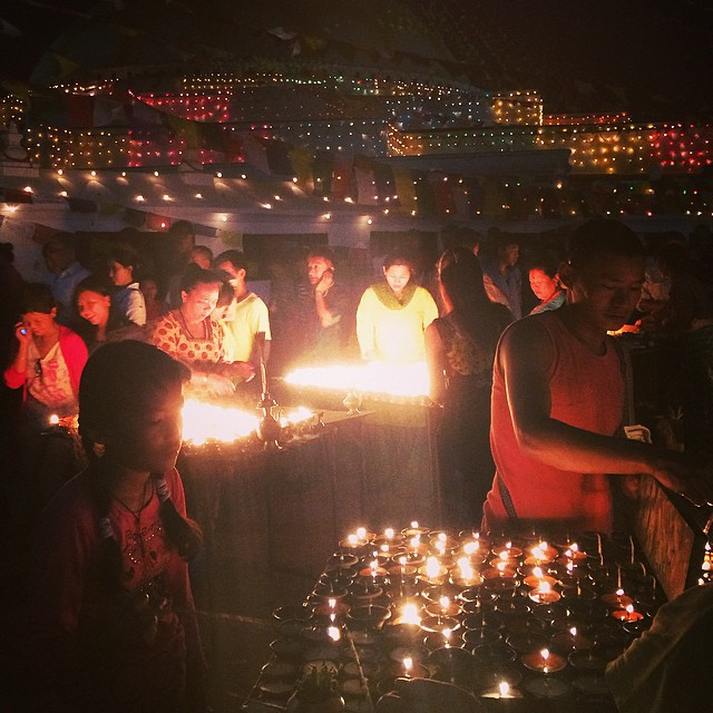 Wishing you all a bright and merry Christmas from an illuminated night in Nepal #light #candles #offerings #happyholidays #estwst
