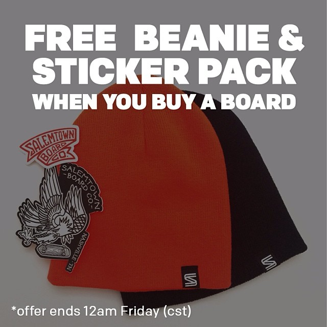 Get a free Back to Basics beanie and sticker pack with every board purchase until midnight Friday (cst)!