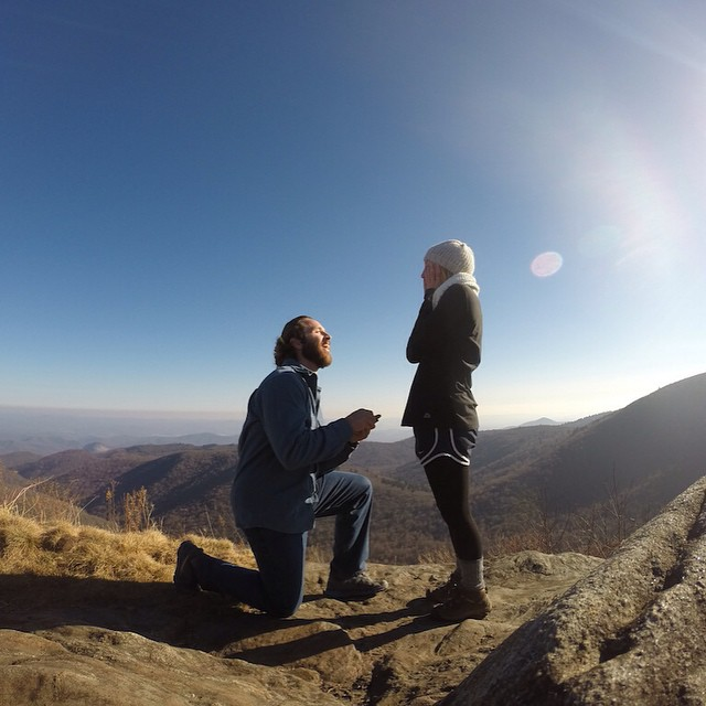 Photo of the Day! She said yes! Congrats to the happy couple @graysonsally and @macegwilklow. Grayson used Time Lapse Mode to get the shot when he popped the question on top of Tennent Mountain in Pisgah National Forest in North Carolina.
