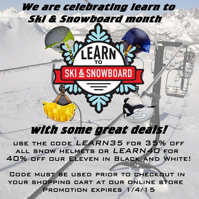 Kicked off some great deals to give some first timers a safe experience.  Luckily, vets can use it too!  35% off all snow helmets using the code LEARN35 and 40% off the eleven in black and white with LEARN40.  Codes only work at shredready.com in your...