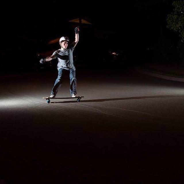 Team rider @michaelkadams sliding in total darkness. Photo by Alex Isom Photography.  #dblongboards #dblunchtray #cloudride #cloudridewheels #atlastrucks #atlastruckco #nightskating #longboarding #photography #steez