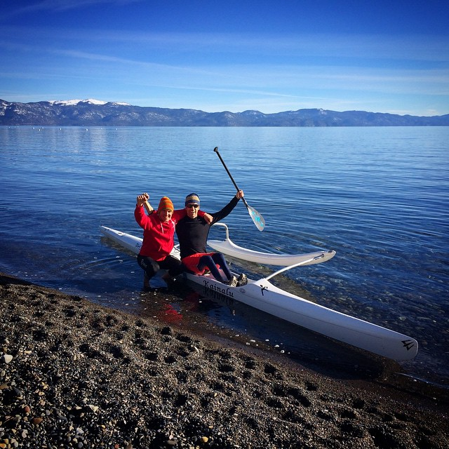 #SmilesForMiles while #TahoeDreamin on glassy #BluePow w/ @JayWild & @shawnakorgan at the @TahoeWaterman | RiseAndGrind | #HighFivesAthlete | #ChoosePositivityNow.com
