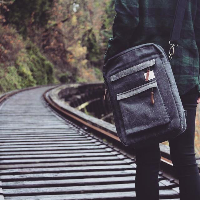 Urban Hemp Convertible exploring the other side of the tracks #hemp #laptopcase #laptopbag #sustainable #consumeconsciously