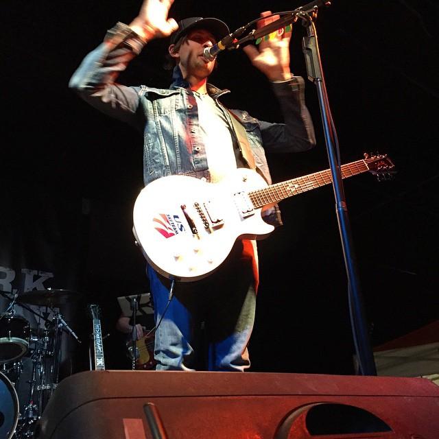 This guy rocks // @m2mackay // Playing the custom @volklskis x @usskiteam x #gibson guitar // @mvjamie @chrisclaytonadams #biggestlittlecity